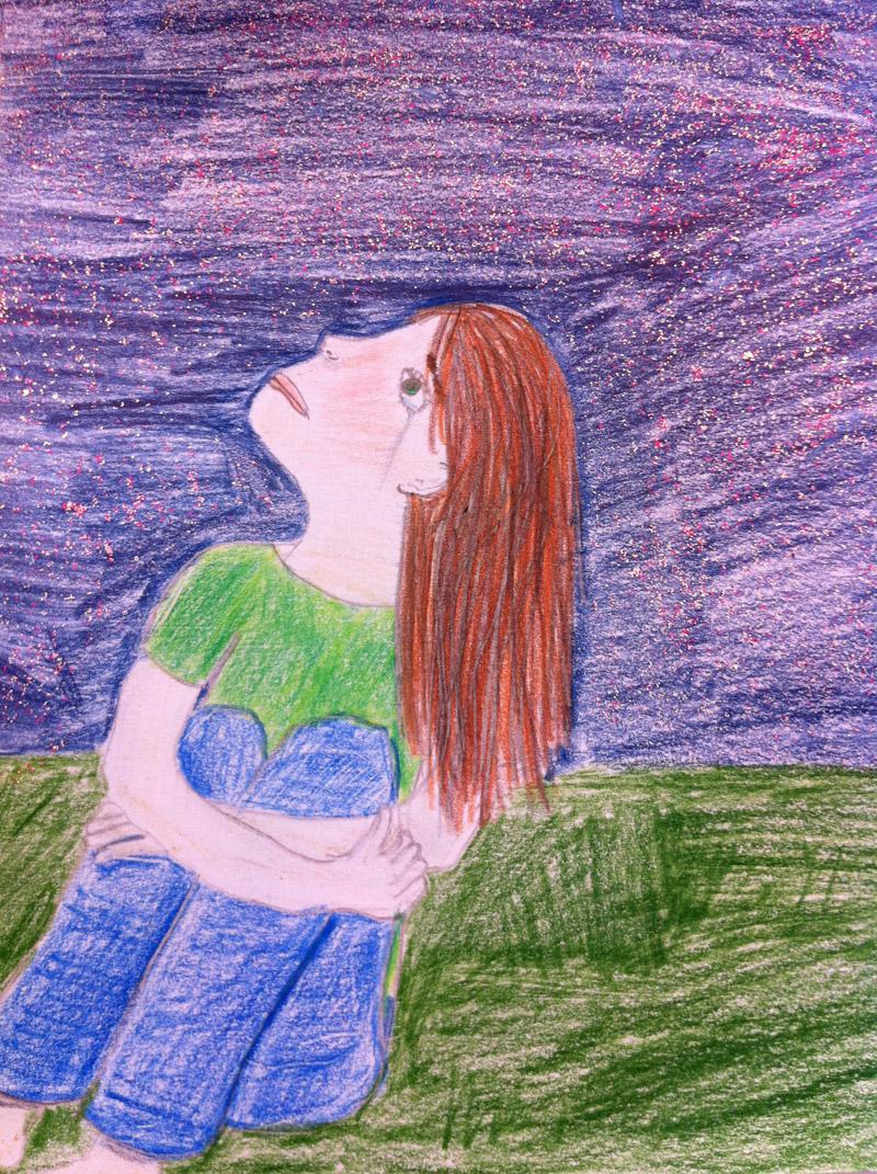 Girl Looking At Stars