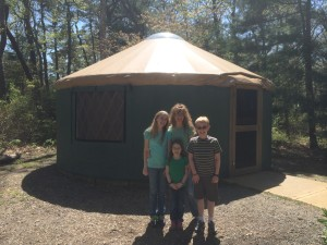 The Cummins Crew (minus Dad) in front of our yurt!