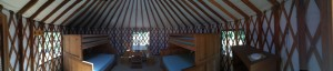 A panoramic view of the inside of our yurt