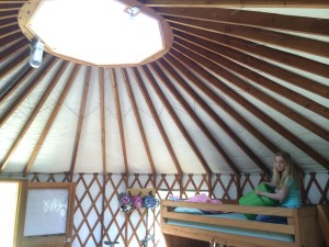 The yurt's skylight - with me in the background :)