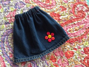 This cute skirt used to be the pant leg in Dad's old jeans.