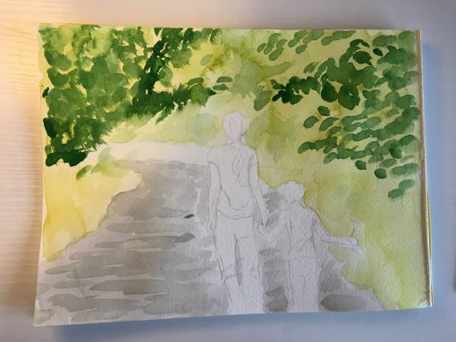 Campground Quest For A Bathroom - A Watercolor