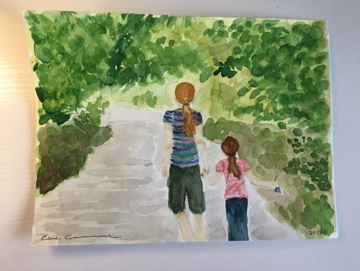 """""""Campground Quest For A Bathroom"""" - A Watercolor"""
